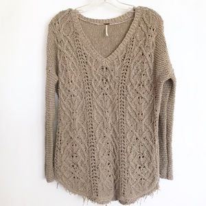 Free People Pullover V Neck Sweatet - Small